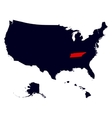 tennessee state in united states map vector image