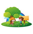 two kids watering flowers in garden vector image vector image
