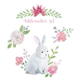 Watercolor rabbit with flowers vector image vector image