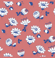 white flowers hand drawn seamless pattern vector image vector image
