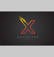 x letter design with golden outline and grunge vector image vector image