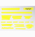 yellow highlighter marker strokes brush vector image vector image