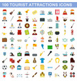100 tourist attraction icons set flat style vector image vector image