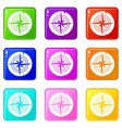 ancient compass set 9 vector image vector image