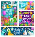 baby shower toys shop kids store cartoon vector image vector image