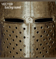 background with medieval helmet metal texture vector image