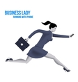 Business lady running with mobile phone template vector image vector image