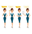 business woman characters four different poses vector image