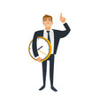 businessman and time concept with office worker vector image vector image
