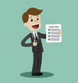 businessman is holding check list paper cartoon vector image vector image