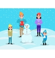 Cartoon happy family playing snowballs snowman vector image vector image