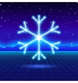 Christmas card with 80s neon snowflake vector image vector image