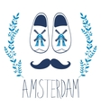 Colorful Amsterdam composition with shoes and vector image vector image