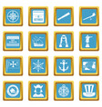 columbus day icons azure vector image vector image