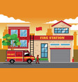 fire truck in fire station vector image vector image