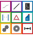 flat auto set of belt coupler auto jack and vector image vector image
