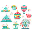 flat set of amusement park equipment vector image