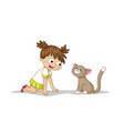 girl is playing with a cat vector image