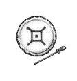hand drawn indian shaman drum vintage vector image