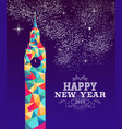 happy new year 2019 london color triangle hipster vector image vector image