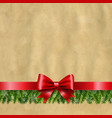 happy new year banner with red ribbon and fir tree vector image vector image