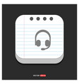 headphone icon gray icon on notepad style vector image