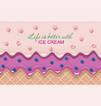 ice cream cone close-up horizontal banner melted vector image