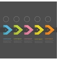 Infographic five step ribbon arrow dashed circle vector image
