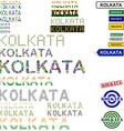 Kolkata text design set vector image vector image