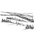 landscape with fields and trees sketching vector image vector image
