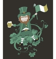 Leprechaun with flag holding a mug of beer in the vector image
