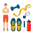man and sport items icons set vector image vector image