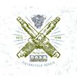 motorcycle repair emblem vector image vector image
