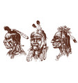 native american indian man with headdress and vector image vector image