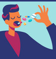pills in mouth man eating many drugs hand vector image vector image