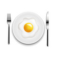 plate with fried eggs fork and knife white vector image vector image