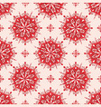 red floral mandala pattern on cream background vector image vector image