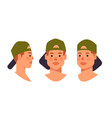set guy in cap head avatar front side view male vector image