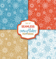 Set of seamless outlined snowflakes patterns vector image vector image