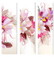 set of three vertical floral banners vector image