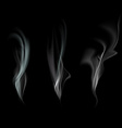 set smoke isolated on a black background vector image vector image