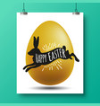 silhouette of a black rabbit with a handwritting vector image vector image