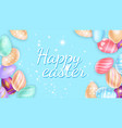 sparks and eggs around happy easter inscription vector image