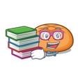 student with book hamburger bun mascot cartoon vector image