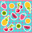 summer fruits pattern in cartoon style vector image vector image