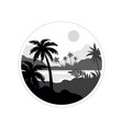 tropical scenery monochrome landscape in vector image vector image
