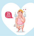 valentine day card with cute cupid character part vector image vector image