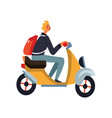 young man with backpack riding scooter motorcycle vector image