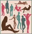 Young people silhouettes vector image vector image