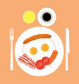american breakfast top view isolated vector image